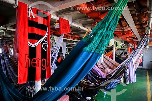 Assunto: Área destinada à redes no barco que faz a travessia entre Belém (PA) e Manaus (AM) / Local: Breves - Pará (PA) - Brasil / Data: 03/2014