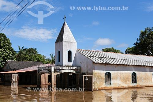 Assunto: Igreja destruída durante à cheia do Rio Madeira / Local: Distrito de Nazaré - Porto Velho - Rondônia (RO) - Brasil / Data: 04/2014