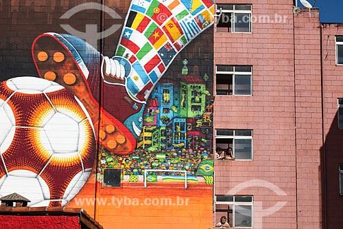 Assunto: Prédio decorado próximo à Arena Corinthians / Local: Itaquera - São Paulo (SP) - Brasil / Data: 06/2014