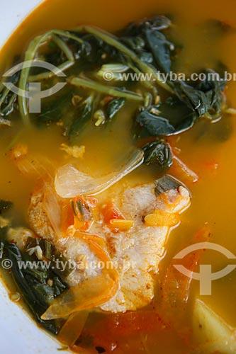 Assunto: Tambaqui cozido na folha de jambu / Local: Porto Velho - Rondônia (RO) - Brasil / Data: 06/2014