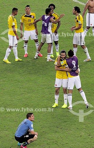 Assunto: Comemoração do jogadores colombiano após o jogo entre Colômbia x Uruguai pela Copa do Mundo no Brasil / Local: Maracanã - Rio de Janeiro (RJ) - Brasil / Data: 06/2014
