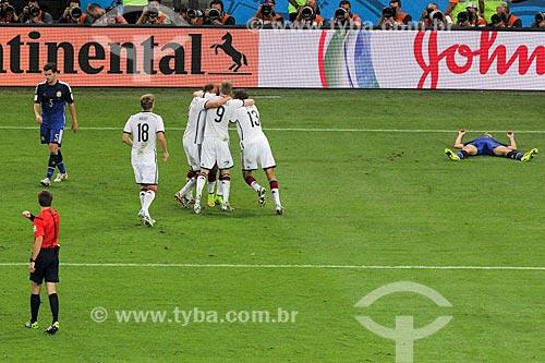 Assunto: Jogadores alemães comemorando o gol de Götze durante jogo entre Alemanha x Argentina pela final a Copa do Mundo no Brasil / Local: Maracanã - Rio de Janeiro (RJ) - Brasil / Data: 07/2014