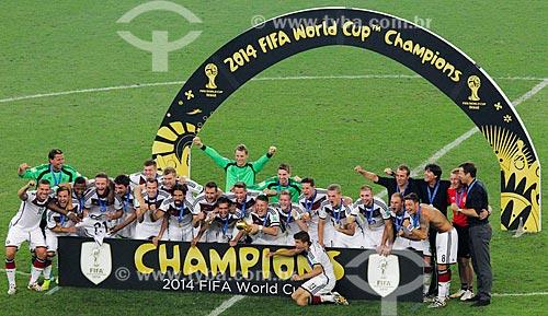 Assunto: Jogadores alemães comemorando após o jogo entre Alemanha x Argentina pela final a Copa do Mundo no Brasil / Local: Maracanã - Rio de Janeiro (RJ) - Brasil / Data: 07/2014