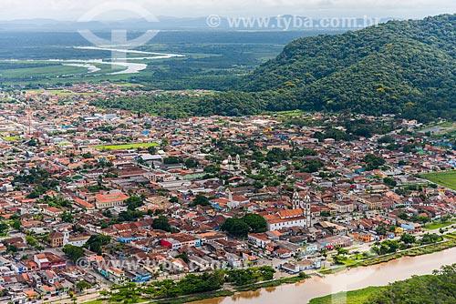Vista aérea do centro de Iguape ao fundo Serra de Iguape - Complexo Estuarino Lagunar de Iguape Cananéia e Paranaguá  - Iguape - São Paulo (SP) - Brasil