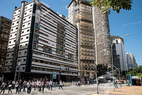 Edifícios na Praça da República e Edifício Itália ao fundo - Avenida Ipiranga  - São Paulo - São Paulo (SP) - Brasil