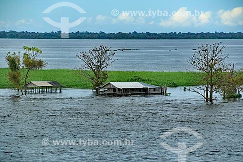 Casebre às margens do Rio Amazonas  - proximidades de Manaus  - Manaus - Amazonas (AM) - Brasil