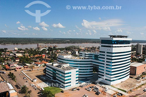 Foto aérea do Centro Político Administrativo Palácio Rio Madeira com o Rio Madeira ao fundo  - Porto Velho - Rondônia (RO) - Brasil