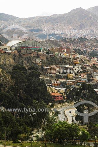Vista geral de La Paz com o Piscina olímpica de Alto Obrajes  - La Paz - Departamento de La Paz - Bolívia