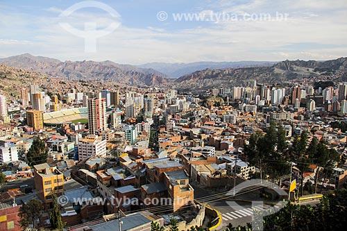 Vista geral de La Paz com o Estádio Hernando Siles (1931)  - La Paz - Departamento de La Paz - Bolívia