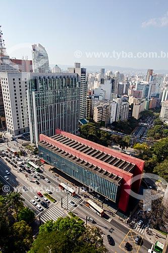 Vista geral da Avenida Paulista com o Museu de Arte de São Paulo (MASP)  - São Paulo - São Paulo (SP) - Brasil