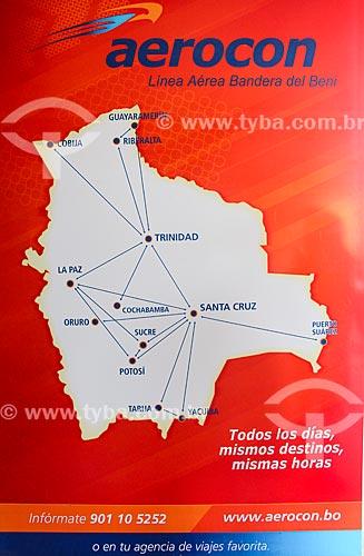 Mapa com os destinos disponíveis na Aerocon - Linhas Aéreas  - Departamento Potosí - Bolívia