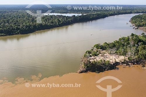 Foto aérea da foz do Rio Jamarí com o Rio Madeira  - Porto Velho - Rondônia (RO) - Brasil