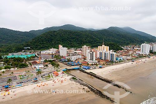 Foto aérea da Praia do Centro com a foz do Rio Mongaguá  - Mongaguá - São Paulo (SP) - Brasil