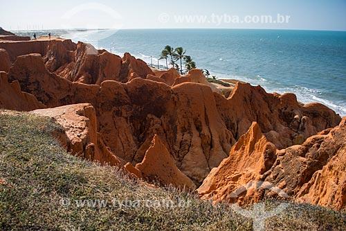 Monumento Natural das Falésias de Beberibe com a Praia de Morro Branco ao fundo  - Beberibe - Ceará (CE) - Brasil