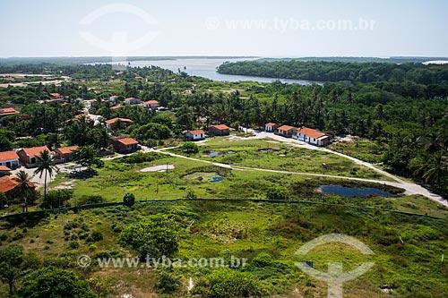 Vista geral do povoado de Mandacarú a partir do Farol de Preguiças (1940) - também conhecido como Farol de Mandacarú  - Barreirinhas - Maranhão (MA) - Brasil