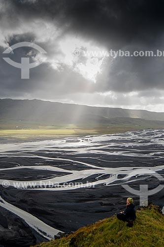 Vista da região do Vulcão Eyjafjallajökull - sua erupção em abril de 2010 causou transtornos ao transporte aéreo europeu  - Southern Region - Islândia