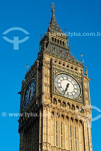 Detalhe da torre do Big Ben (1859) no Palácio de Westminster  - Londres - Grande Londres - Inglaterra