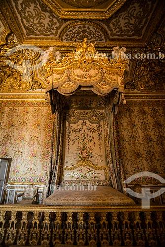 Cama no grande appartement de la reine (grande quarto da rainha) no Château de Versailles (Palácio de Versalhes) - residência oficial da monarquia da Francesa entre os anos de 1682 a 1789  - Versalhes - Yvelines - França