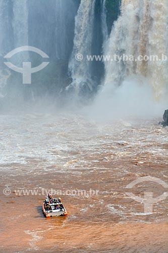 Passeio de barco nas corredeiras do Rio Iguaçu no Parque Nacional do Iguaçu  - Foz do Iguaçu - Paraná (PR) - Brasil