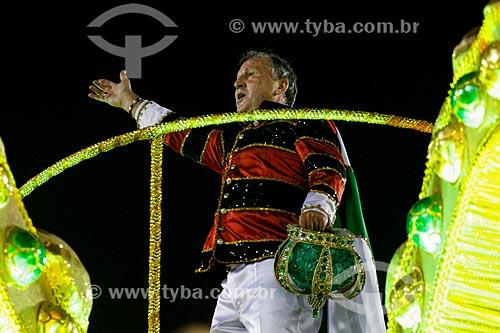 Desfile do Grêmio Recreativo Escola de Samba Imperatriz Leopoldinense - Zico como destaque de carro alegórico - Enredo 2014 - Arthur X - O Reino do Galinho de Ouro na corte da Imperatriz  - Rio de Janeiro - Rio de Janeiro (RJ) - Brasil