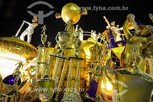 Desfile do Grêmio Recreativo Escola de Samba Imperatriz Leopoldinense - Carro alegórico - Enredo 2014 - Arthur X - O Reino do Galinho de Ouro na corte da Imperatriz  - Rio de Janeiro - Rio de Janeiro (RJ) - Brasil