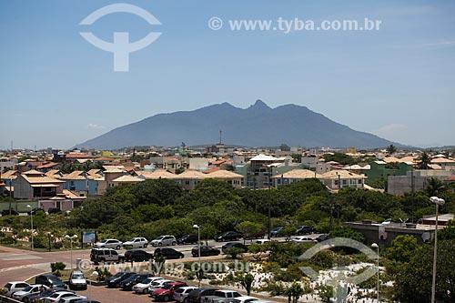 Vista do Morro de São João a partir do Mirante da Lagoa do Iriri - também conhecida como Lagoa da Coca-Cola  - Rio das Ostras - Rio de Janeiro (RJ) - Brasil