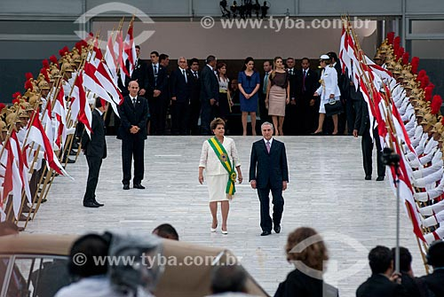 Presidente Dilma Rousseff e o Vice-Presidente Michel Temer durante a cerimônia de posse do primeiro mandato  - Brasília - Distrito Federal (DF) - Brasil