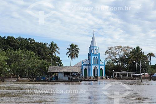 Igreja de Nossa Senhora Aparecida após à cheia do Rio Madeira  - Porto Velho - Rondônia (RO) - Brasil