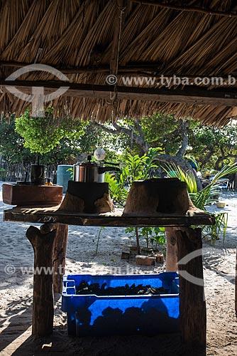 Detalhe de fogão à lenha em casa da Vila de Queimada dos Britos no Parque Nacional dos Lençóis Maranhenses  - Santo Amaro do Maranhão - Maranhão (MA) - Brasil