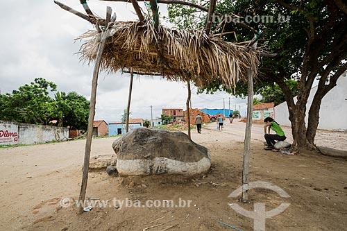Pedra do Joelho - que possui uma marca na qual os fiéis acreditam que a Virgem Maria se ajoelhou - na Colina do Horto  - Juazeiro do Norte - Ceará (CE) - Brasil
