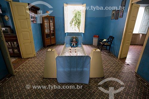 Cama onde dormia e faleceu Padre Cícero em exposição no Museu Vivo de Padre Cícero - também conhecido como Casarão do Horto  - Juazeiro do Norte - Ceará (CE) - Brasil