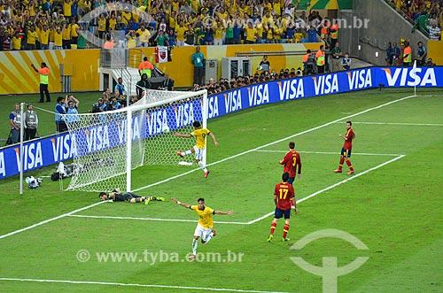 Neymar comemorando gol sobre a Espanha pela final da Copa das Confederações no Estádio Jornalista Mário Filho - também conhecido como Maracanã  - Rio de Janeiro - Rio de Janeiro (RJ) - Brasil
