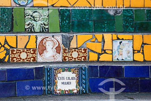 Detalhes da Escadaria do Selarón  - Rio de Janeiro - Rio de Janeiro (RJ) - Brasil