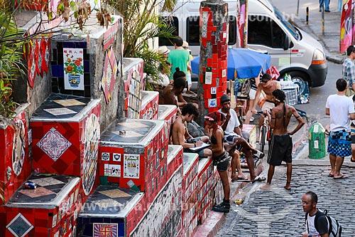 Turistas na Escadaria do Selarón  - Rio de Janeiro - Rio de Janeiro (RJ) - Brasil