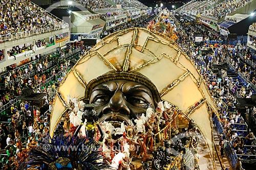 Desfile do Grêmio Recreativo Escola de Samba Beija-Flor de Nilópolis - Carro alegórico - Enredo 2015 - Um griô conta a história: Um olhar sobre a África e o despontar da Guiné Equatorial. Caminhemos sobre a trilha de nossa felicidade  - Rio de Janeiro - Rio de Janeiro (RJ) - Brasil