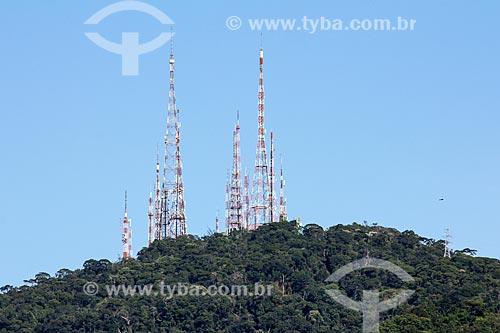Morro do Sumaré com antenas de telecomunicação  - Rio de Janeiro - Rio de Janeiro (RJ) - Brasil