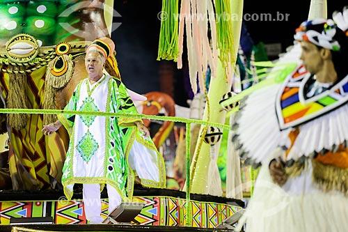 Desfile do Grêmio Recreativo Escola de Samba Imperatriz Leopoldinense - Ex-jogador Zico como destaque de carro alegórico  - Rio de Janeiro - Rio de Janeiro (RJ) - Brasil
