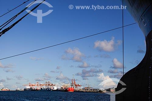 Navio petroleiro Dragão do Mar no Estaleiro Atlântico Sul com o Complexo Portuário de Suape ao fundo  - Ipojuca - Pernambuco (PE) - Brasil