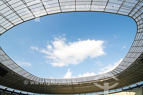 Detalhe da cobertura do Estádio Governador Plácido Castelo (1973) - também conhecido como Castelão - após as reformas para a Copa do Mundo no Brasil  - Fortaleza - Ceará (CE) - Brasil
