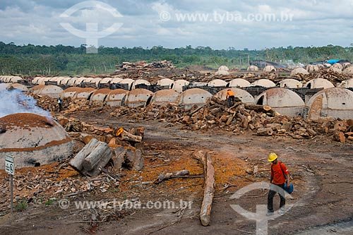 Trabalhador produzindo carvão para siderurgia com sobras de madeira de manejo florestal  - Paragominas - Pará (PA) - Brasil