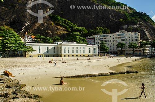 Praia da Urca com prédio da antiga TV Tupi, atualmente sede do Instituto Europu de Design (IED), ao fundo  - Rio de Janeiro - Rio de Janeiro (RJ) - Brasil