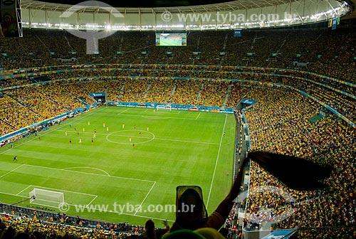 Interior do Estádio Nacional de Brasília Mané Garrincha antes do jogo entre Brasil x Camarões durante a Copa do Mundo no Brasil  - Brasília - Distrito Federal (DF) - Brasil