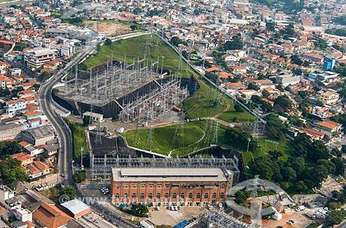 Foto aérea de subestação da Companhia de Transmissão de Energia Elétrica Paulista (CTEEP) - concessionária de serviços de transmissão de energia  - São Paulo - São Paulo (SP) - Brasil