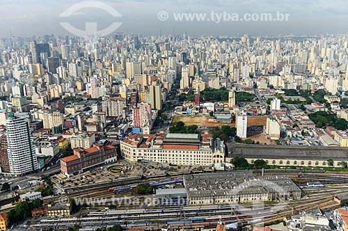 Foto aérea da Estação Júlio Prestes com a Sala São Paulo e a Estação Pinacoteca - antigo DEOPS - à esquerda  - São Paulo - São Paulo (SP) - Brasil