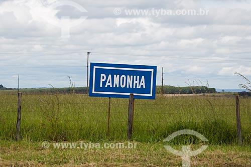 Placa indicando venda de pamonha as margens da Rodovia BR-060  - Goiás (GO) - Brasil