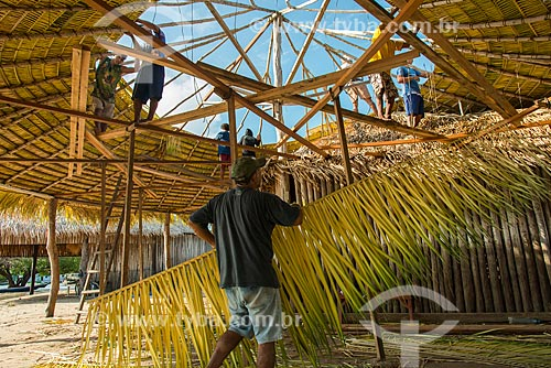 Homens construindo telhado de quiosque com a palha da curuá-pixuna (Orbignya Pixuna)  - Santarém - Pará (PA) - Brasil