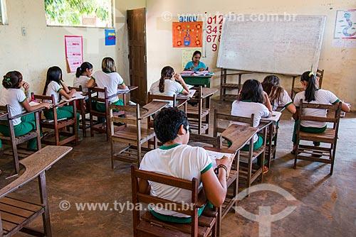 Sala de Aula da Escola Municipal de Ensino Fundamental Nossa Senhora do Perpétuo Socorro na Floresta Nacional do Tapajós  - Belterra - Pará (PA) - Brasil
