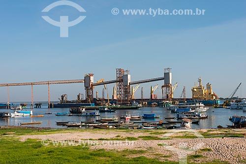 Vista do Terminal Graneleiro da Cargill no Rio Tapajós  - Santarém - Pará (PA) - Brasil