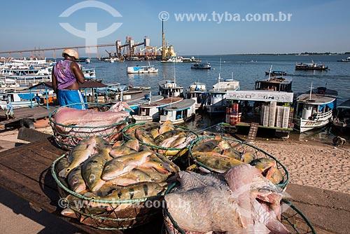 Cesta de peixes chegando ao Mercado de Peixes da cidade de Santarém com o Terminal Graneleiro da Cargill ao fundo  - Santarém - Pará (PA) - Brasil