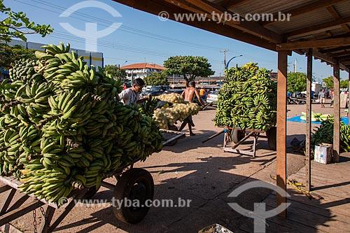 Homens carregando bananas em feira livre às margens do Rio Tapajós  - Santarém - Pará (PA) - Brasil